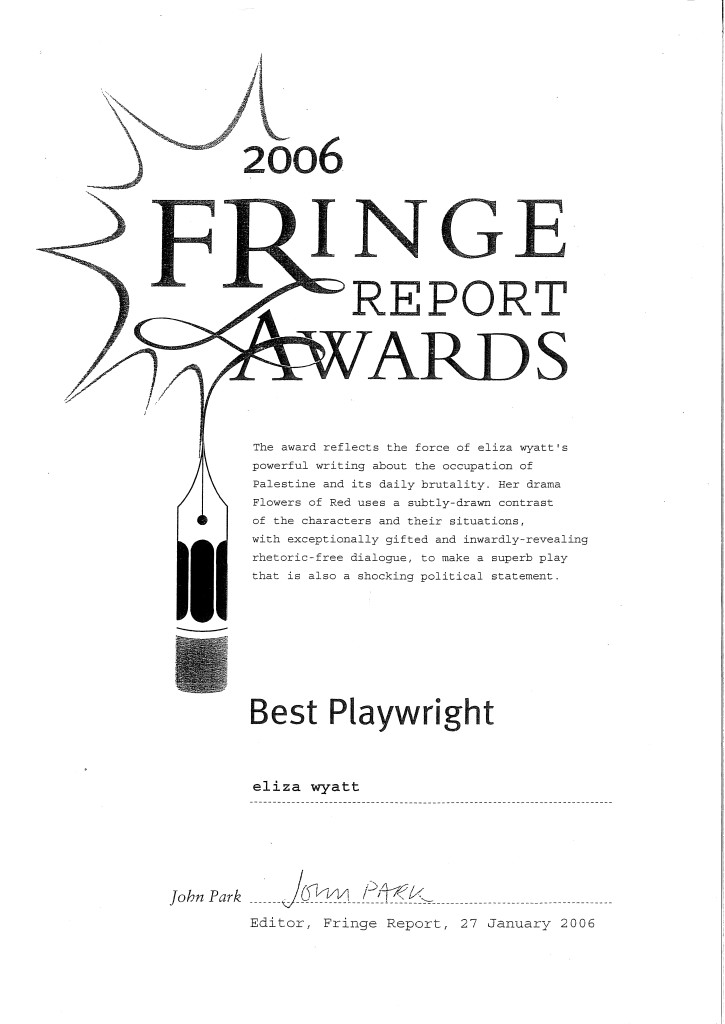 This was the award for the Edinburgh Production, directed by Terry Adams starring Catherine Lake and Miriam Tisler